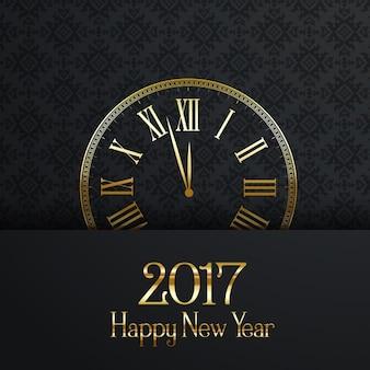 Fundo feliz ano novo com relógio decorativo