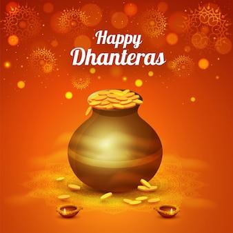 Fundo feliz da celebração de Dhanteras com o pote das moedas de ouro.