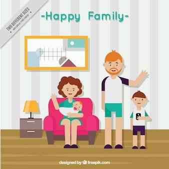 Fundo feliz da família na sala de estar no design plano