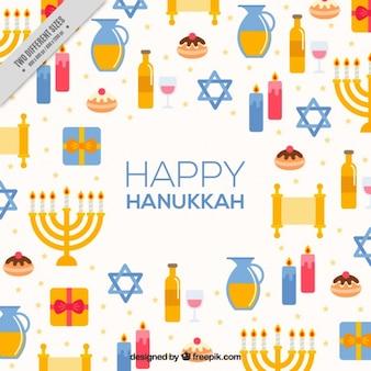 Fundo feliz de Hanukkah com elemento colorido