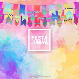 Fundo Festa junina no efeito da aguarela com guirlandas