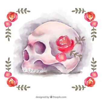 Fundo floral com crânio pintados com aquarela