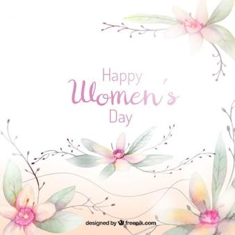 Fundo floral no estilo da aguarela para o dia das mulheres