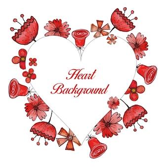 Fundo floral vermelho do quadro do coração