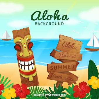 Fundo florido de aloha da praia