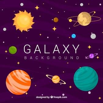 Fundo Galaxy com planetas