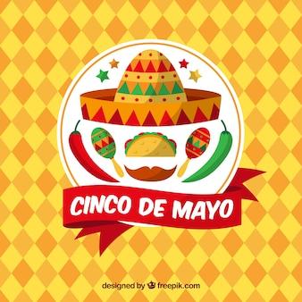 Fundo geométrico com elementos mexicanos para cinco de mayo