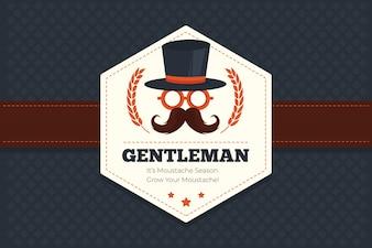 Fundo geométrico Movember com emblema hexagonal