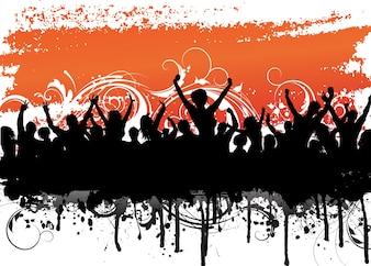 Fundo grunge com uma silhueta de um público animado