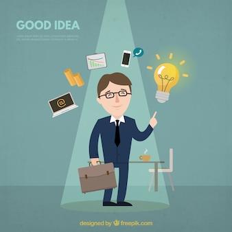 Fundo, homem negócios, bom, idéia