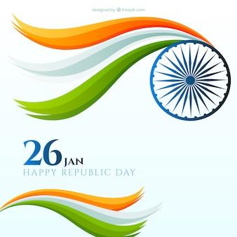 Fundo Indian Flat dia da república com formas onduladas