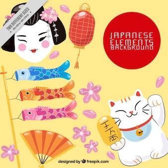 Fundo Japão com elementos típicos