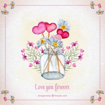 Fundo jarro com flores da aguarela