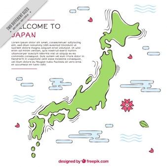 Fundo liso com o mapa do japão