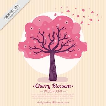 Fundo listrado com árvore-de-rosa