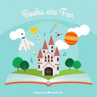 Fundo livro aberto com elementos de fantasia