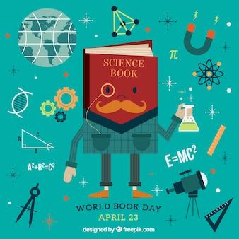 Fundo livro de ciência com elementos
