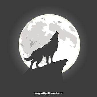 Fundo lobo uivando na lua