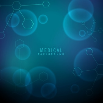 Fundo médico com moléculas e elementos químicos