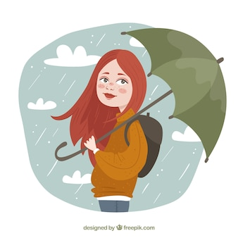 Fundo menina com mochila e guarda-chuva