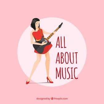 Fundo, menina, tocando, elétrico, guitarra