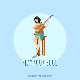 Fundo, menina, tocando, guitarra, inspiração, mensagem