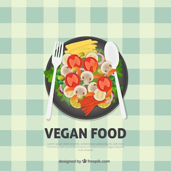 Fundo menu de comida vegan saudável