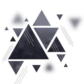 Fundo minimalista abstrato com triângulos cinza no fundo branco.