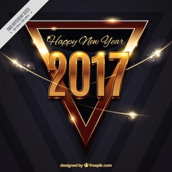Fundo moderno do triângulo dourado do ano novo feliz