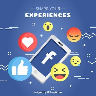 Fundo móvel e emoticons em design plano