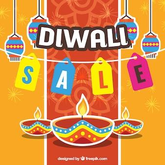 Fundo multicolorido de vendas de diwali