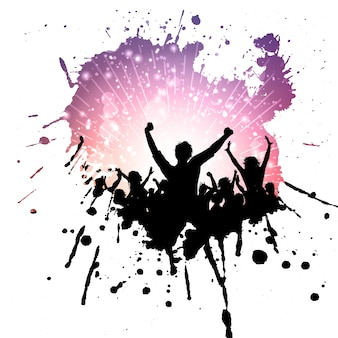 Fundo multidão do partido em um splatter do grunge