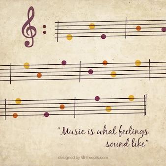 Fundo musical com detalhes de cores no estilo retro