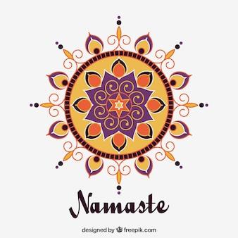Fundo Namaste com mandala em design plano