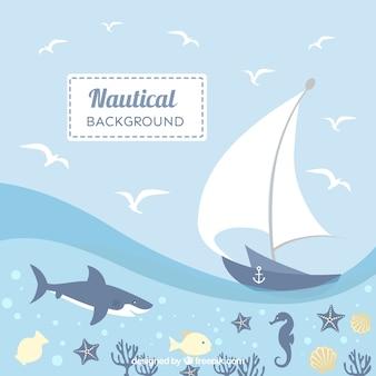 Fundo náutico bonito com animais e navio