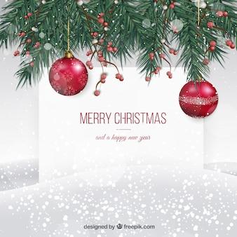 Fundo nevado do cartão de Natal