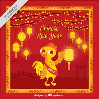 Fundo novo chinês plana ano com lanternas brilhantes e galo
