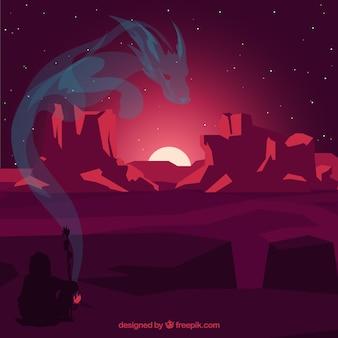 Fundo ocidental com a silhueta de um dragão