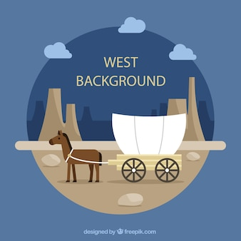 Fundo ocidental redonda com cavalo e carruagem