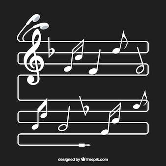 Fundo Pentagram com notas e fones de ouvido