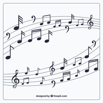 Fundo Pentagram com notas musicais