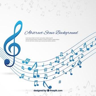 Fundo Pentagram e notas musicais azuis