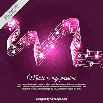 Fundo pentagrama brilhante com notas musicais