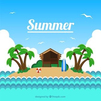 fundo pequena ilha no verão