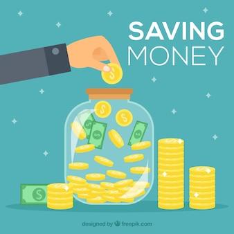 Fundo, pessoa, poupando, dinheiro