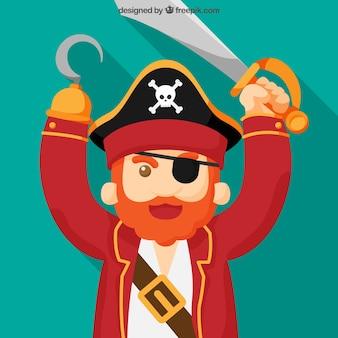 Fundo, pirata, capitão, espada, gancho