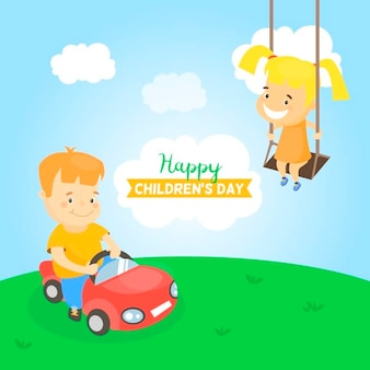 Fundo plano com crianças que têm o divertimento ao ar livre