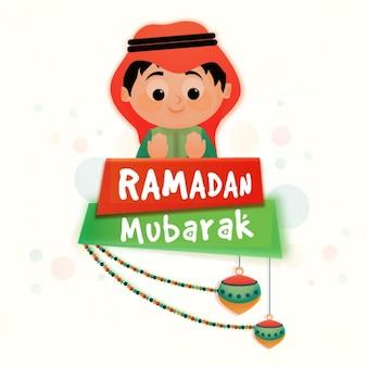 Fundo plano com menino bonito para mubarak ramadan