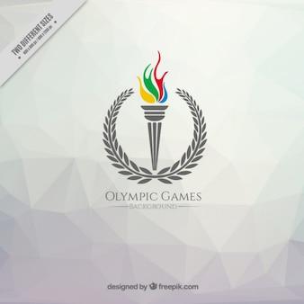 Fundo poligonal com uma tocha dos Jogos Olímpicos
