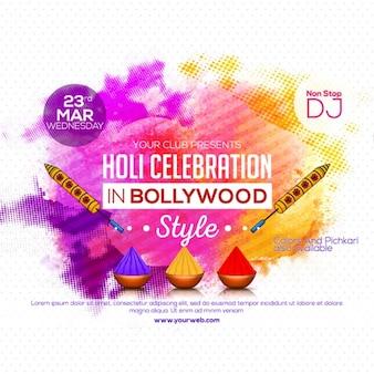 Fundo pontilhado com formas coloridas para o festival de Holi
